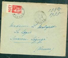 Publicitimbre Yvert 283 Pub 13  ( Moet ) Sur Lac Oblitéré Gueret En 1936  - Malc 6316 - Advertising
