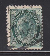 Canada Used Scott #67 1c Victoria - Leaf Issue Cancel: Squared Circle: Halifax, NS JA 22 98 - 1851-1902 Règne De Victoria