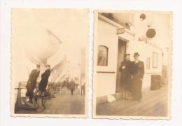 Lot de 2 Photos originales 82 mm x 60 mm - Ann�es 30  - Bateau - Malle Princesse Astrid Ostende Belgique - Scan R/V