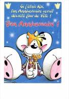 Carte DIDDL N° 18 - Joyeux Anniversaire - SOURIS MOUSE Roi Couronne Baguette - Diddl