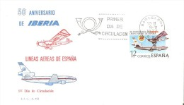 BARCELONA SPD DE 50 ANIVERSARIO DE IBERIA DEL AÑO 1977 (PLANE) LINEAS AEREAS DE ESPAÑA - Aerei