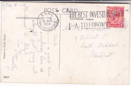 1933 GB COVER  RHYL  TELEPHONE SLOGAN Pmk Stamps Telecom Gv Postcard Railway Train Humour - Telecom