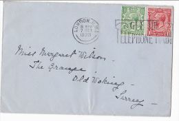 1933 GB COVER London TELEPHONE SLOGAN Pmk London NW1 Stamps Telecom Gv Stamps - Telecom