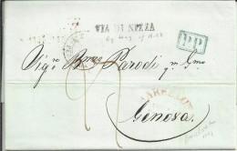 CARTA 1841 DE BARCELONA A GENOVA , MARCA DE SALIDA DE BARCELONA. MARCA EN AZUL PP , MARCA EN NEGRO VIA DE NIZZA MAT TRAN - ...-1850 Voorfilatelie