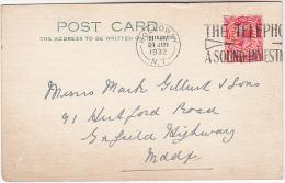 1932 GB COVER (card) HOLLOWAY  TELEPHONE  SLOGAN Pmk Gv Stamps Telecom - Telecom