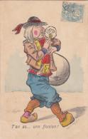 FINISTERE : Joueur De Biniou - Carte Satirique - Illustrateur Inconnu - Très Rare ! - Unclassified