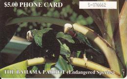 BAHAMAS ISL.(chip) - The Bahama Parrot(BAH C5bA), Large Number In Box, Chip GEM1b, Used - Bahamas