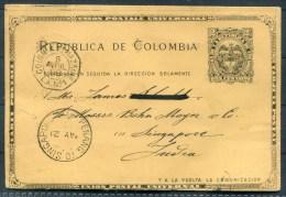 1899 Colombia Postal Card Barranquilla - Singapore. Colon A St Nazaire Paquebot S.S. Nubia - Colombia