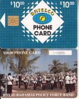 BAHAMAS ISL.(chip) - Royal Bahamas Police Force Band(BAH C6bA), Large Number In Box, Chip GEM1, Used - Bahamas