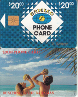 BAHAMAS ISL.(chip) - Beaching In Bahamas(BAH C7B), Golden Number On Chipside, Chip GEM1, Used - Bahamas