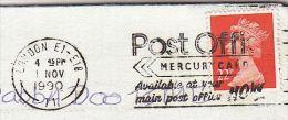 1990 COVER Slogan  POST OFFICE MERCURY CARD Telecom   Telephone Card Stamps Gb - Telecom