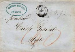 Smyrne, Turquie 1853 Serifed Double Ring With Red Ms 100 On Stampless Folded Letter To Syros, Greece.  Diagonal Cu... - Turkey