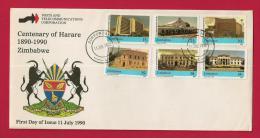 ZIMBABWE, 1990, Mint FDC,Centenary Harare, 442-447 - Zimbabwe (1980-...)