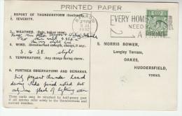 1932 Barrow GB COVER SLOGAN Pmk PHONE , HOME NEEDS TELEPHONE Postcard Re METEOROLOGY STORM REPORT Gv Stamps Telecom - Telecom