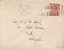 1932 GB  COVER WOOLWICH TELEPHONE SLOGAN With ROYAL ARTILLERY EMBLEM On The Back,telecom Military Forces Gv Stamps - Telecom