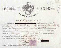 FATTORIA DI S. ANDREA IN PERCUSSINA FIRENZE)--6-6-1885-RICEVUTA-MARCA DA BOLLO-CENT. 5 - 1878-00 Umberto I