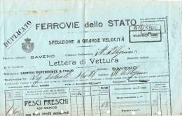 FERROVIE DELLO STATO -LETTERA DI VETTURA(MOD.C 102)-DA BAVENO A S.PELLEGRINO.-SPEDIZIONE DI PESCI FRESCHI-16-8-1922 - Fiscale Zegels