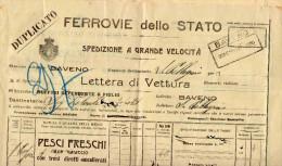 FERROVIE DELLO STATO -LETTERA DI VETTURA(MOD. C 101 BIS)-DA BAVENO A S.PELLEGRINO.-SPEDIZIONE DI PESCI FRESCHI-22-8-1922 - Revenue Stamps