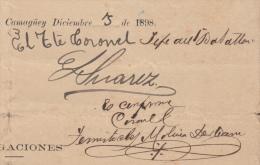 *BE460 CUBA INDEPENDENCE WAR PERU GENERAL PERUANO TEMISTOCLES MOLINA 1898 - Autographs
