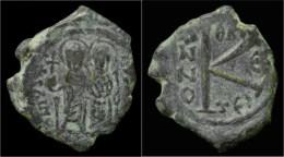 Justin II & Sophia AE Half Follis - Byzantine