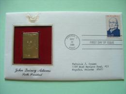 USA 1986 FDC Cover Presidents Gold Replica 23K - John Quincy Adams - Boat - Train - Stati Uniti