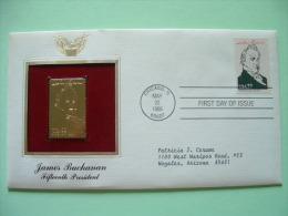 USA 1986 FDC Cover Presidents Gold Replica 23K - Buchanan - Horse Horseman Pony Express - Lettres & Documents