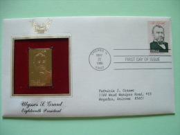 USA 1986 FDC Cover Presidents Gold Replica 23K - Ulysses Grant - Flag - Etats-Unis