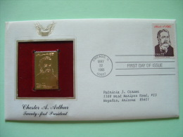 USA 1986 FDC Cover Presidents Gold Replica 23K - Chester Arthur - Ships - Etats-Unis