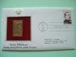 USA 1986 FDC Cover Presidents Gold Replica 23K - Grover Cleveland - Statue Of Liberty - Etats-Unis