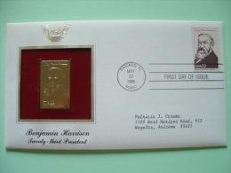 USA 1986 FDC Cover Presidents Gold Replica 23K - Benjamin Harrison - Lettres & Documents