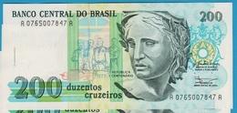 "BRAZIL 200 Cruzeiros  ND (1990)  # A 076500...A    P# 229    ""República"" - Brasil"