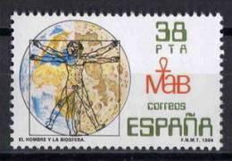 TIMBRE ESPAGNE NOUVEAU 1984 L´HOMME ET LA BIOSPHÈRE - CONCEPTION LEONARDO DA VINCI - Astronomùia