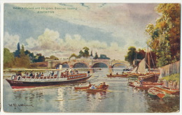Salter's Oxford And Kingston Steamer Leaving Kingston  Art Card Signed - London Suburbs