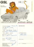 QSL-Karte Traun CB-Station Datsun-Löwe Stelzhamerstraße 1980 Lion Leone Auto Automobil Automobile Voiture Macchina - QSL-Karten