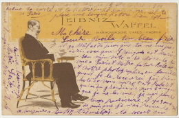 Advert Leibniz Waffel Hannoversche Cakes Fabrik Art Card - Hannover