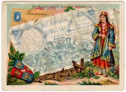 Chromo Représentation D'un Billet, Roumanie - Aux Grands Magasins J. Rieusset, Montpellier - Altri
