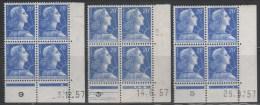 N° 1011B X3  Neuf ** Gomme D´Origine, Bloc De 4 Avec Coin Daté  TB - 1950-1959