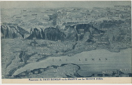 Lac Geneve Carte Geo Aerienne Coppet Versoix Cetigny Nyon Rolle Saleve Pays Roman - GE Geneva