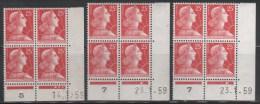 N° 1011C X3  Neuf ** Gomme D´Origine, Bloc De 4 Avec Coin Daté  TB - 1950-1959