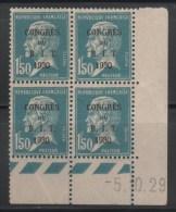 N° 265  Neuf ** Gomme D'Origine, Bloc De 4 Avec Coin Daté  TB - 1930-1939