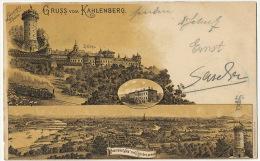 Gruss Aus Kahlenberg Hotel Panorama  Litho Haufler Soemutterer Used 1901 - Autres