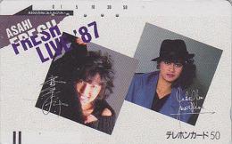Télécarte Ancienne Japon / 110-21309 - FEMME / Musique - ASAHI FRESH LIVE 1987 - GIRL Japan Front Bar Phonecard - 1764 - Japan