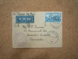 Enveloppe Via Tasman Air Mail Cover Affranchie New Zealand Trans Tasman Pour Toronto Oblitération Auckland - Poste Aérienne