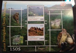 Cabo Verde 2009 - Block Sheetlet Bloc Fauna Flora Zona Protegidas Serra Malagueta Birds Of Prey Rapaces Raubvögel  MNH - Cap Vert