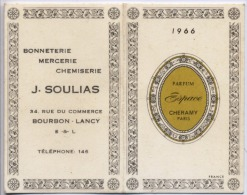 71 - BOURBON LANCY - PETIT CALENDRIER PARFUME   -  1966  -  Parfum ESPACE De CHERAMY PARIS  - - Calendriers
