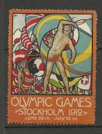 SCHWEDEN Sweden 1912 Vignette Olympic Games Stockholm Advertising Werbung In ENGLISH - Ete 1912: Stockholm