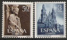 1954-ED. 1130 Y 1131-SERIE COMPLETA-AÑO SANTO COMPOSTELANO. PÓRTICO DE LA GLORIA Y CATEDRAL DE SANTIAGO-NUEVO SIN Fijase - 1931-Hoy: 2ª República - ... Juan Carlos I