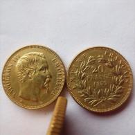20 FRANCS OR   *Napoléon III* 1859  BB : Téte Nue  MAGNIFIQUE  REFRAPPE   Dorée  OR  **  COPIE ** - France