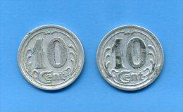 2 Pièces De 10 Cts, Alu - Comités De CHECY, CHATEAUNEUF, SULLY, VITRY - 1922 - France