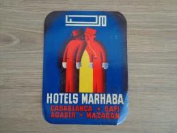 ETIQUETTE HOTEL MARHABA MAROC - Etiquettes D'hotels